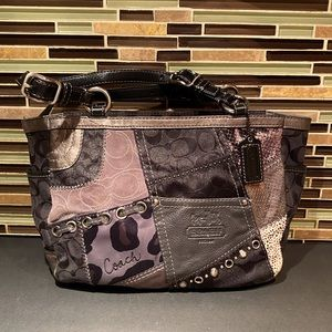 Coach Patchwork Suede Leather Shoulder Bag